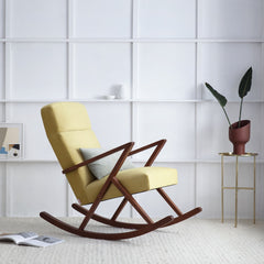 Retrostar Rocking Lounge Chair - Sternzeit Design - Velvet Line in Lemon Yellow | Retro Armchair