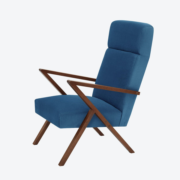 Retrostar Lounge Chair - Sternzeit Design - Velvet Line in Royal Blue | Retro Armchair