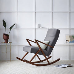 Retrostar Rocking Lounge Chair - Sternzeit Design - Velvet Line in Grey | Retro Armchair