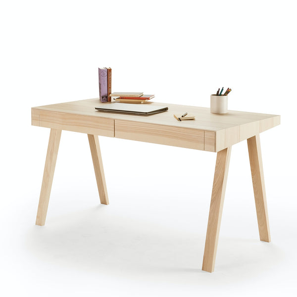 2 Drawer Solid Wood Desk - Solid Ash - 4.9 Desk Design by Emko-Primrose Homeware