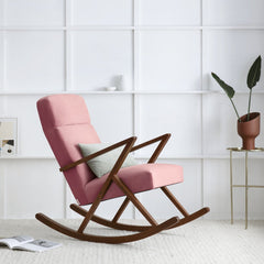 Retrostar Rocking Lounge Chair - Sternzeit Design - Velvet Line in Vintage Pink | Retro Armchair