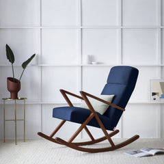 Retrostar Rocking Lounge Chair - Sternzeit Design - Velvet Line in Navy Blue | Retro Armchair