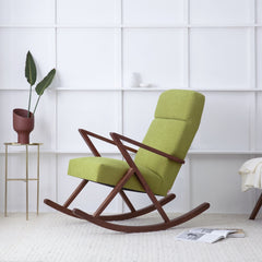 Retrostar Rocking Lounge Chair - Sternzeit Design - Basic Line in Mustard Green | Retro Armchair