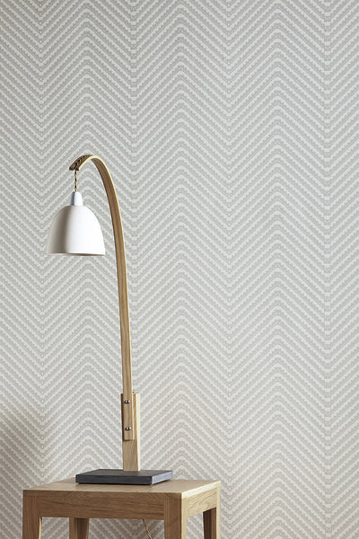 Chevron Wallpaper | Cream on Grey | Designer Wallpaper from 'Barneby Gates'