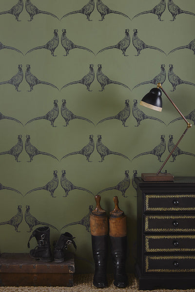 Pheasant Wallpaper | Camo Green | Designer Wallpaper from 'Barneby Gates'-Primrose Homeware
