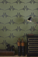 Pheasant Wallpaper | Camo Green | Designer Wallpaper from 'Barneby Gates'