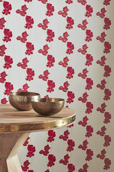 Poppy Wallpaper | Red & Gold | Designer Wallpaper from 'Barneby Gates'