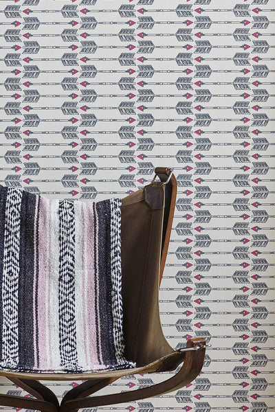 Arrows Wallpaper | Charcoal Pink | Designer Wallpaper from 'Barneby Gates'