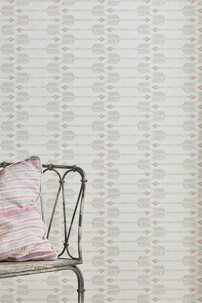 Arrows Wallpaper | Faded Grey | Designer Wallpaper from 'Barneby Gates'