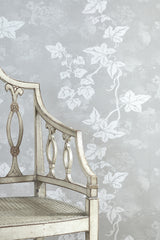 Ivy Wallpaper | Cream on Aged Grey | Designer Wallpaper from 'Barneby Gates'