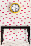 Lips Wallpaper | Red on Cream | Designer Wallpaper from 'Barneby Gates'-Primrose Homeware