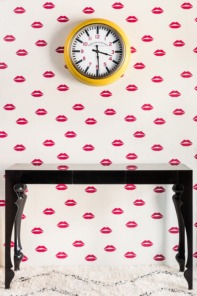 Lips Wallpaper | Red on Cream | Designer Wallpaper from 'Barneby Gates'