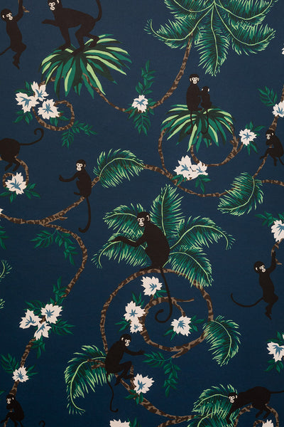 Monkey Wallpaper | Dutch Blue | Designer Wallpaper from 'Barneby Gates'