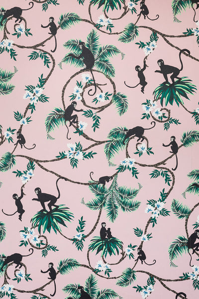 Monkey Wallpaper | Pale Pink | Designer Wallpaper from 'Barneby Gates'