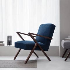 Retrostar Armchair - Sternzeit Design - Velvet Line in Navy Blue | Retro Armchair