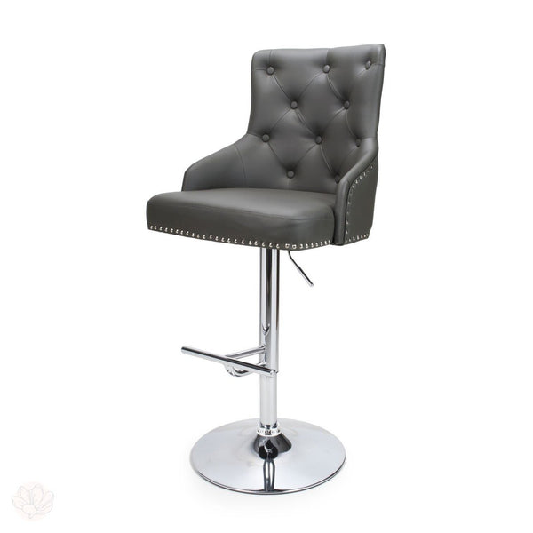 Bar Stool - Leather Effect with Tufted Button Back by Finchley Homeware-Primrose Homeware