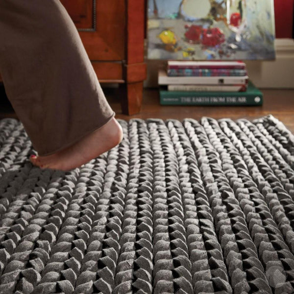 Braided Rug | Hand Woven Wool Felt Rug | Urbane in Dark Grey from 'Rug Guru'-Primrose Homeware