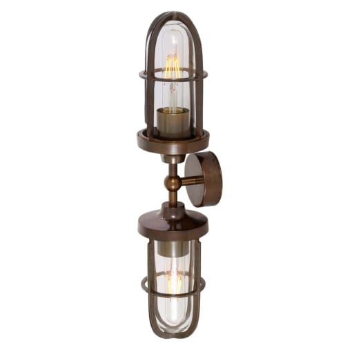 "Brass Double Wall Light - Industrial Style - ""Clayton"" by Mullan Lighting-Primrose Homeware"