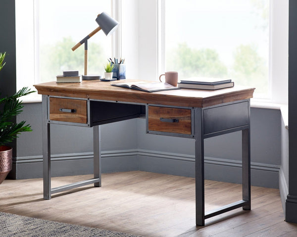 Desk - Distressed Wood and Reclaimed Metal by Hillingdon Interiors-Primrose Homeware