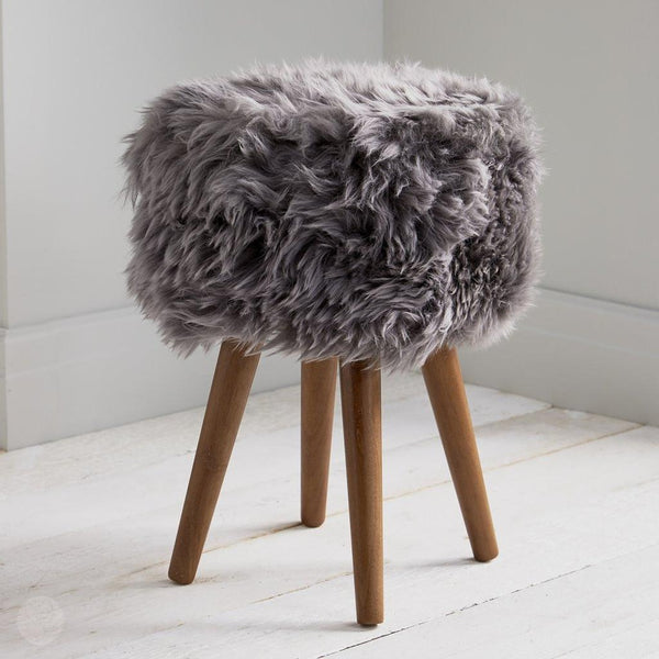 Footstool - Grey Sheepskin Footstool by Kensington Interiors-Primrose Homeware