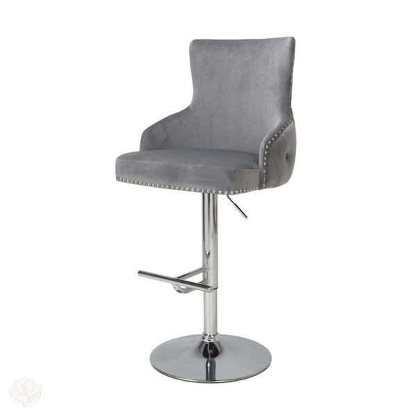 Grey Bar Stool - Tufted Button Back With Chrome Footrest by Finchley Homeware-Primrose Homeware