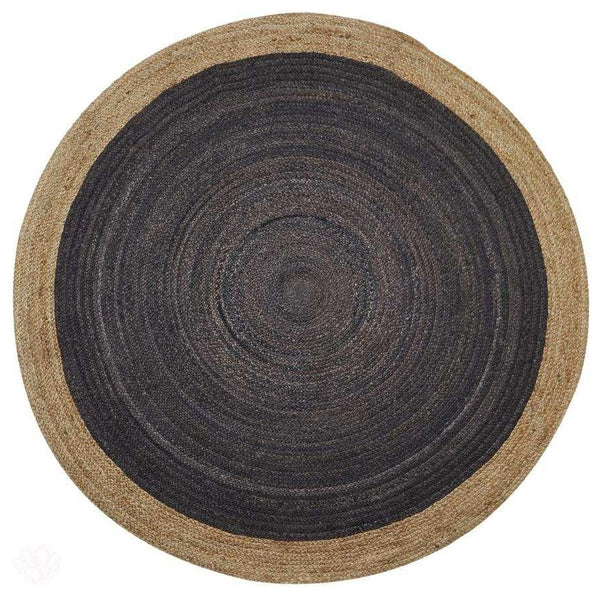 Jute Rug - Round in Light Grey Centre by Kensington Interiors-Primrose Homeware