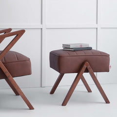 Retrostar Footstool - in Leather | Sternzeit Design