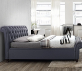Ottoman Bed Frame - Sleigh Ends Side Opening Storage Bed - Charcoal Fabric by Primrose Homeware-Primrose Homeware