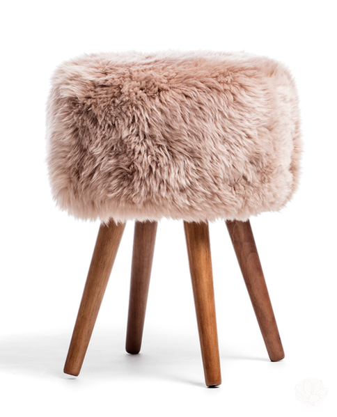Royal Dream Sheepskin Stool - Light Brown-Primrose Homeware