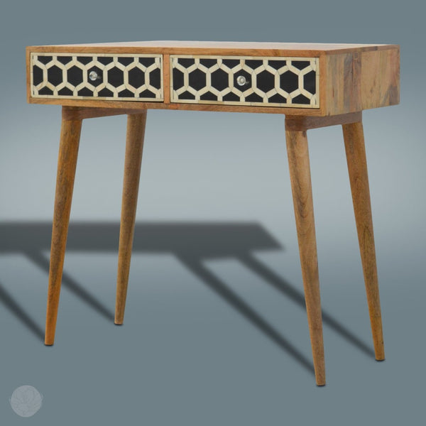 Solid Wood Console Table - Hexagon Pattern by Bayswater Designs-Primrose Homeware