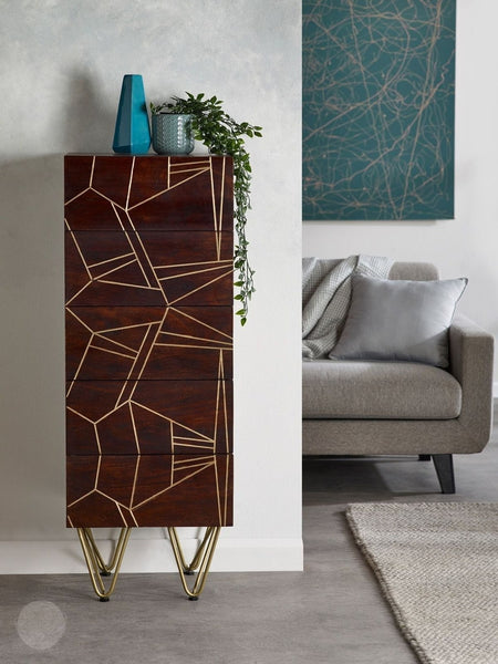 "Tall Chest of Drawers - 5 Drawer Chest ""Arlo"" in Dark Brown by Hillingdon Interiors-Primrose Homeware"
