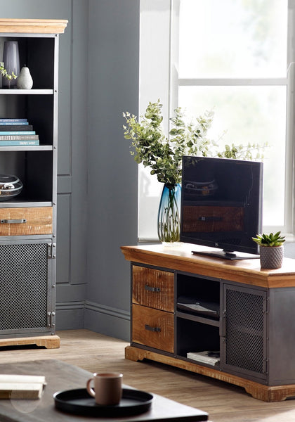 TV Stand - Distressed Wood and Reclaimed Metal by Hillingdon Interiors-Primrose Homeware