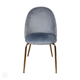 Velvet Dining Chairs - Pair of 2 Grey Velvet Chairs With Gold Legs by Kensington Interiors-Primrose Homeware