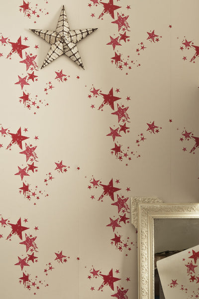 Star Wallpaper | Candy Red | Designer Wallpaper from 'Barneby Gates'