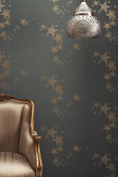 Star Wallpaper | Gold on Grey | Designer Wallpaper from 'Barneby Gates'