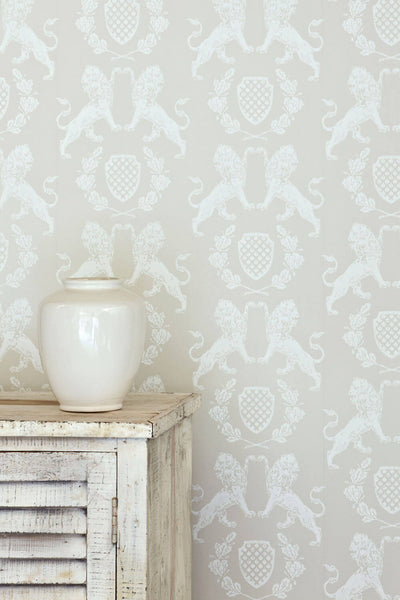 Lion Wallpaper | Cream on Stone | Designer Wallpaper from 'Barneby Gates'