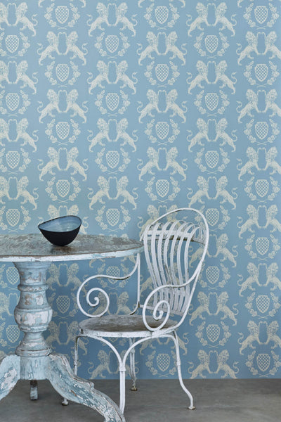 Lion Wallpaper | Wedgwood Blue | Designer Wallpaper from 'Barneby Gates'