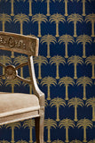 Palm Tree Wallpaper | Midnight Blue | Designer Wallpaper from 'Barneby Gates'-Primrose Homeware