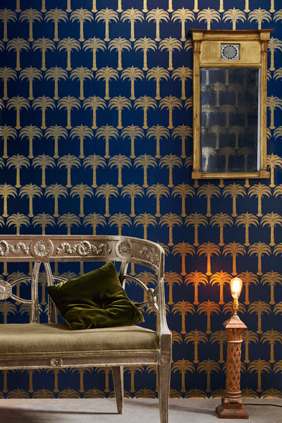 Palm Tree Wallpaper | Midnight Blue | Designer Wallpaper from 'Barneby Gates'