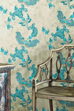 Paisley Wallpaper | Turquoise on Grey | Designer Wallpaper from 'Barneby Gates'