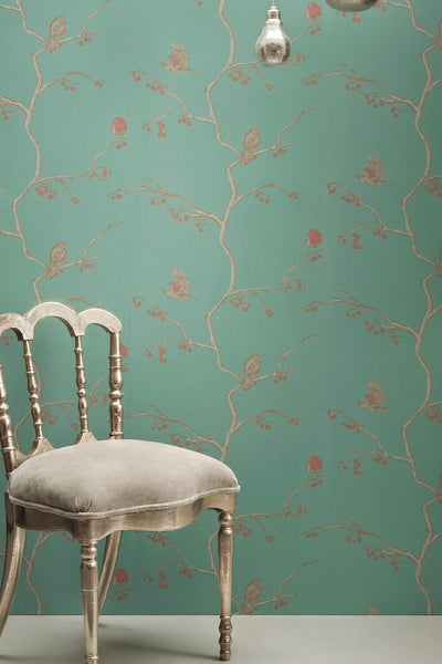 Bird Wallpaper | Jade Robin | Designer Wallpaper from 'Barneby Gates'