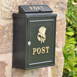 Wall Mounted Post Box - Black with Gold Rose-Primrose Homeware