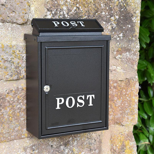 Wall Mounted Post Box - Black with Silver Text-Primrose Homeware