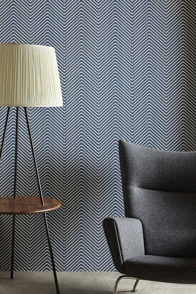 Wallpaper Chevron, Ink Blue - Designer Wallpaper from 'Barneby Gates' Barneby Gates