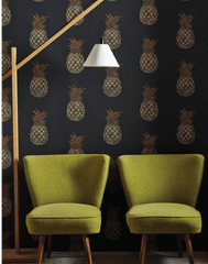 Wallpaper Pineapple, Charcoal - Designer Wallpaper from 'Barneby Gates' Barneby Gates