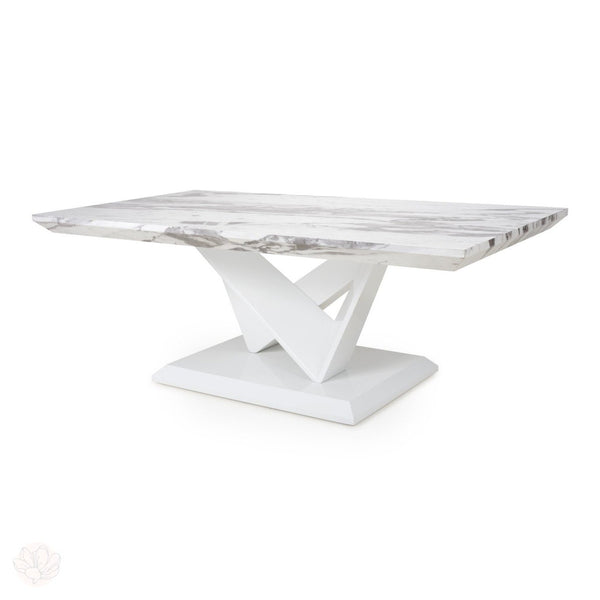 White Dining Table - Marble Effect Top Large on a W Leg Frame by Finchley Homeware-Primrose Homeware