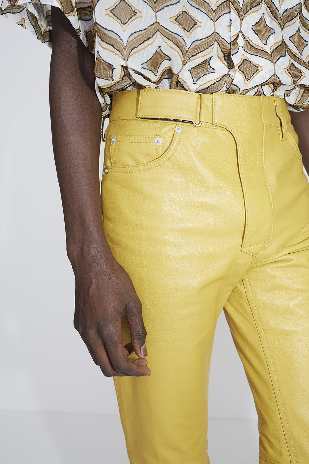 Luke leather trousers yellow