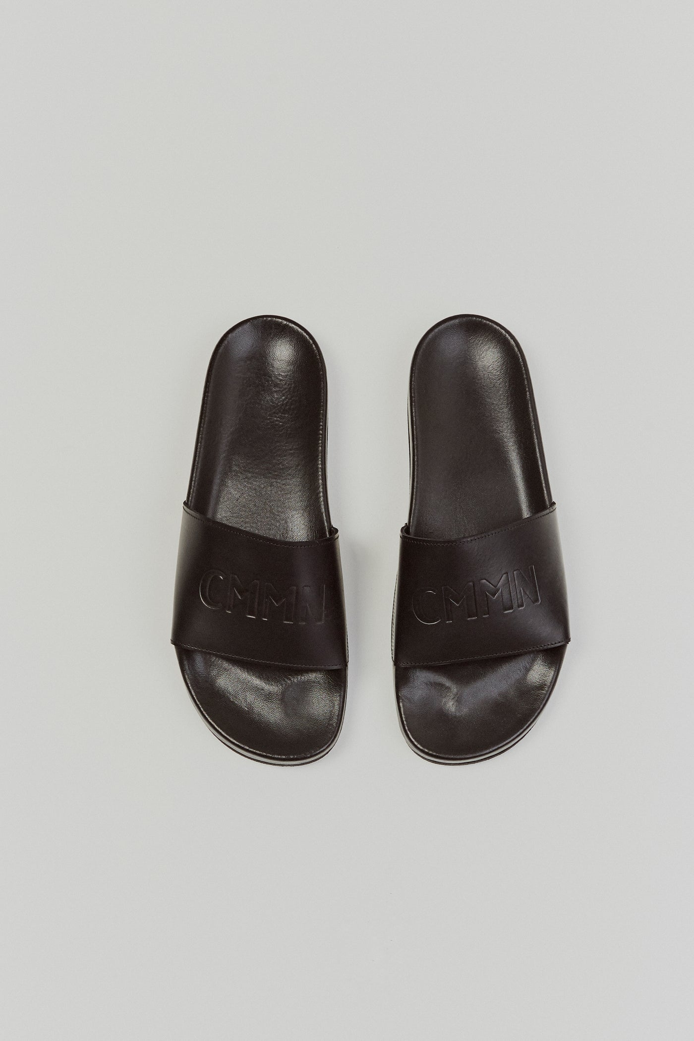 Leather Pool Sliders Black