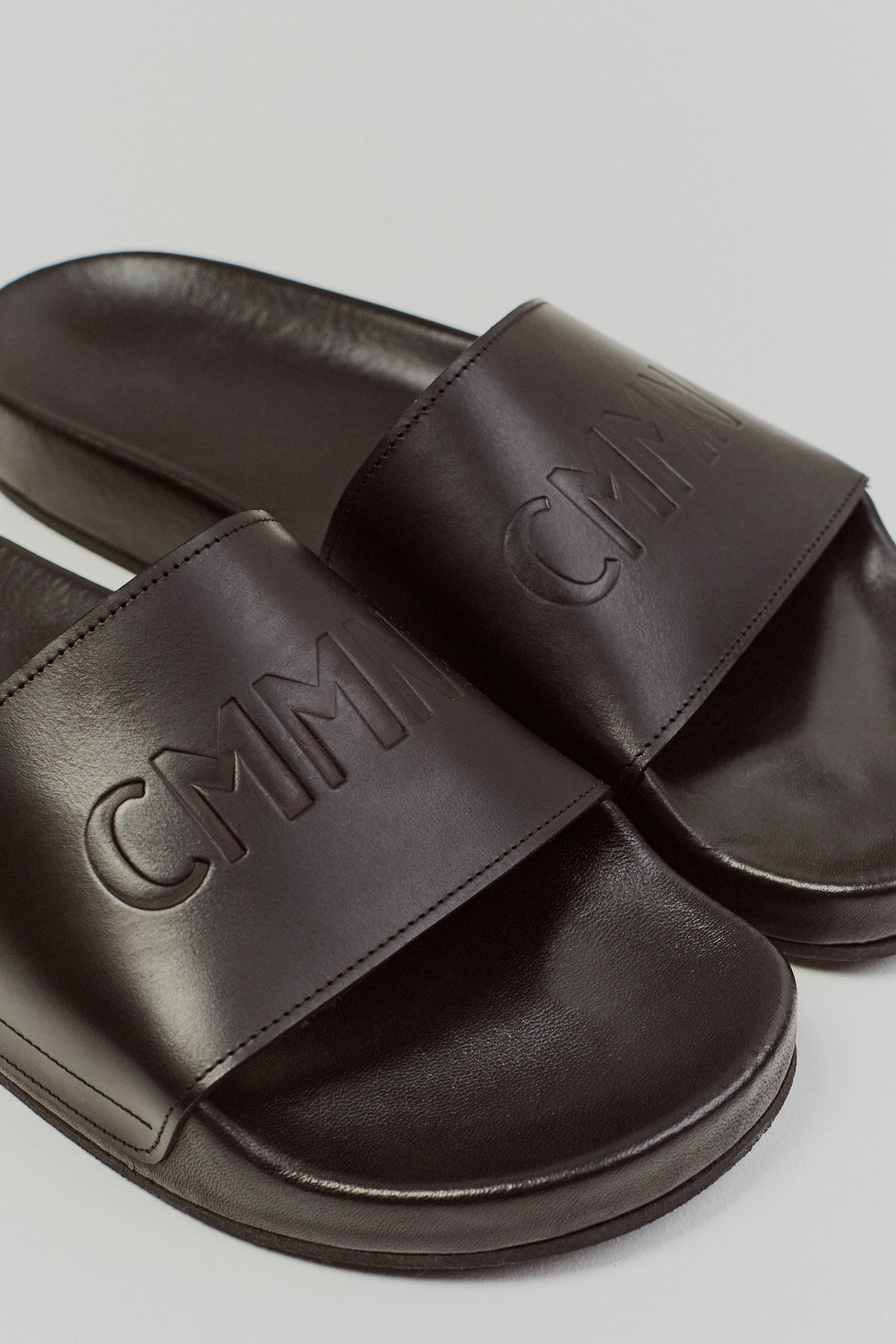 Debossed Suede Slides - BlackCMMN SWDN