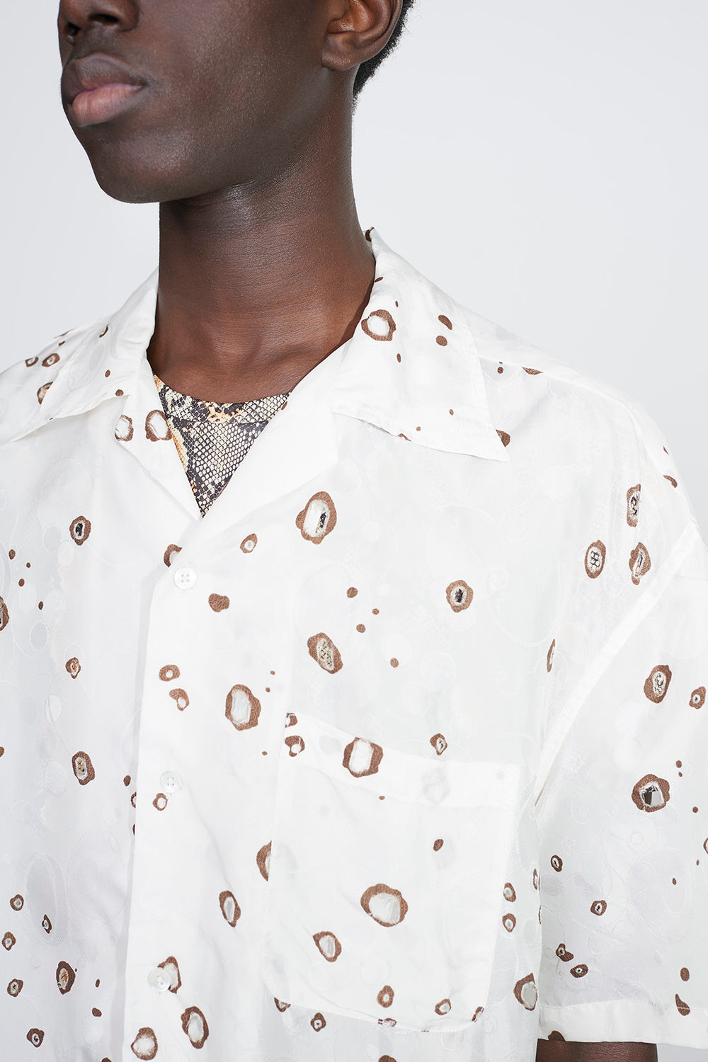 Kim jacquard shirt white/brown